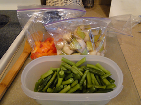 Prepare Ahead by chopping up vegetables and fruits.